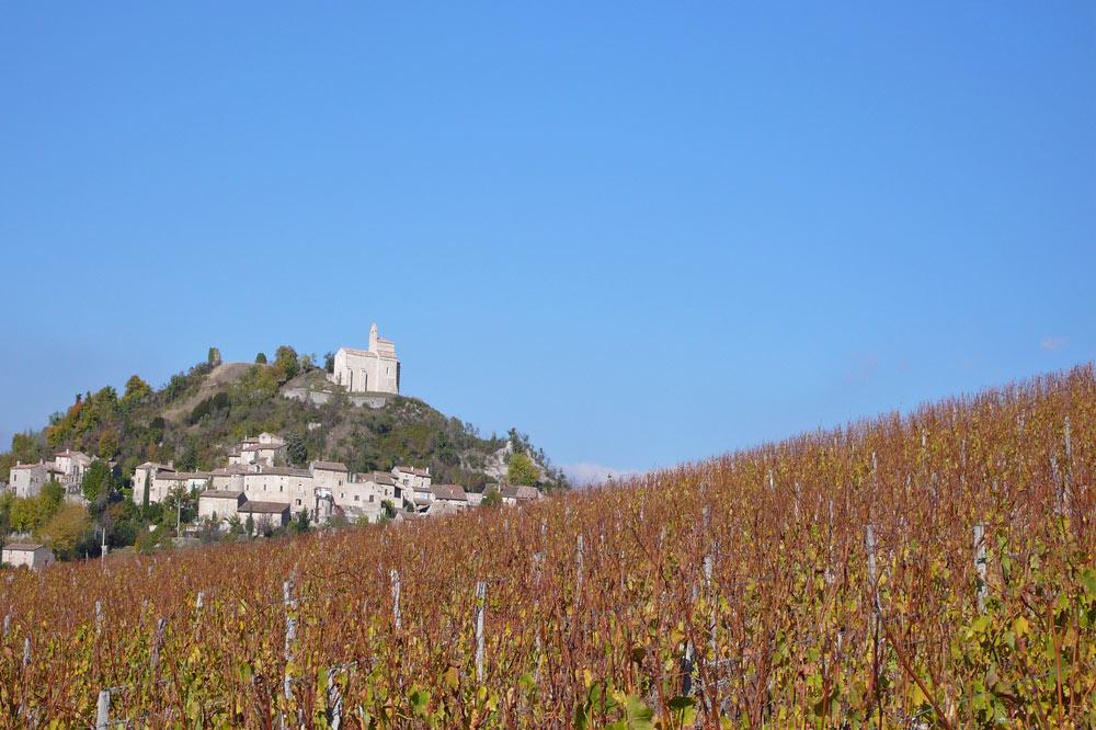 Photographie d'un village perché et de vignobles dans la Drôme