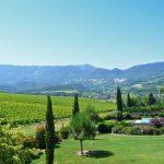 Photographie d'une vue vers la vallée de la Drôme et les vignobles de la Clairette de Die